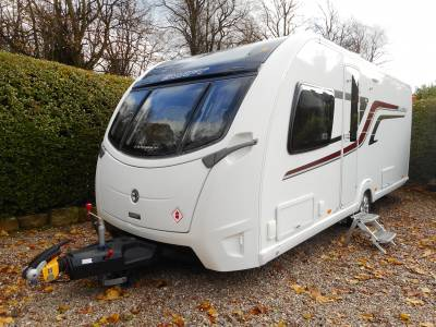 Swift Elegance 580 2015, 4 Berth Fixed Bed Caravan with Alde Heating, Solar Panel and Motor Mover, For Sale
